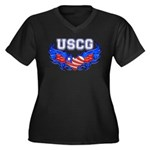 USCG Heart Flag Women's Plus Size V-Neck Dark T-S