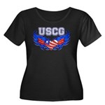 USCG Heart Flag Women's Plus Size Scoop Neck Dark