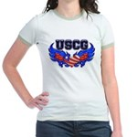 USCG Heart Flag Jr. Ringer T-Shirt