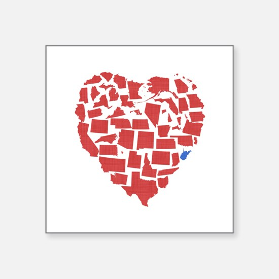 "West Virginia Heart Square Sticker 3"" x 3"""