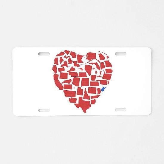 West Virginia Heart Aluminum License Plate