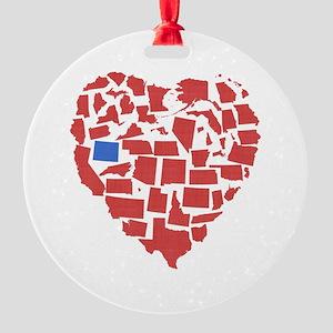 Wyoming Heart Round Ornament