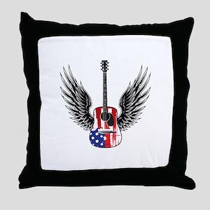 American Guitar Throw Pillow