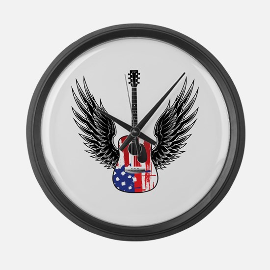 American Guitar Large Wall Clock