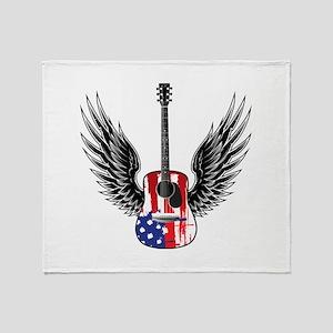 American Guitar Throw Blanket