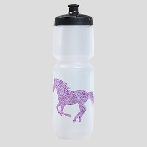 Purple Paisley Horse Sports Bottle