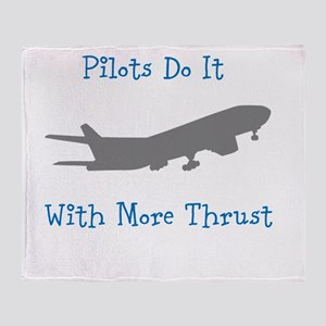 pilots do it with more thrust Throw Blanket
