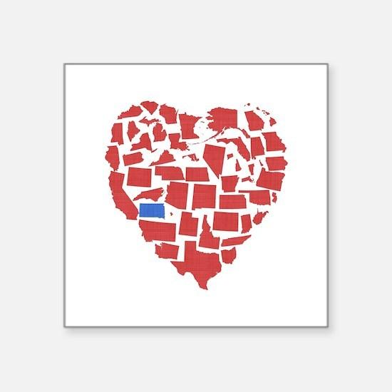 "South Dakota Heart Square Sticker 3"" x 3"""