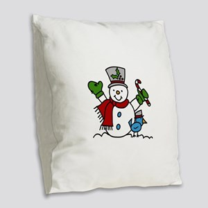 Christmas Hugs Burlap Throw Pillow