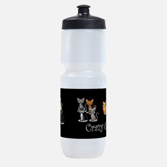 Crazy Cat Man Sports Bottle