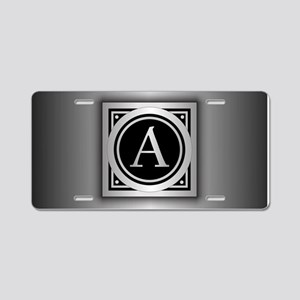 Deco Monogram A Aluminum License Plate