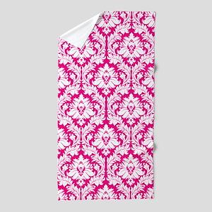 Hot Pink Damask pattern Beach Towel