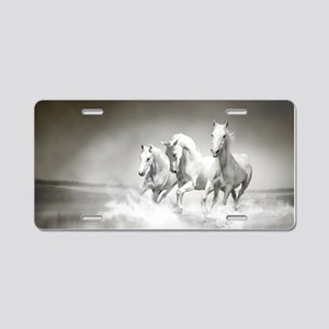 Wild White Horses Aluminum License Plate