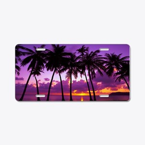 Purple Tropical Sunset Aluminum License Plate