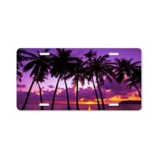 Purple Tropical Sunset Aluminum License Plate