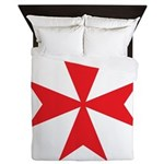 Red Maltese Cross Queen Duvet
