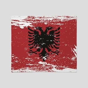 Grunge Albania Flag Throw Blanket