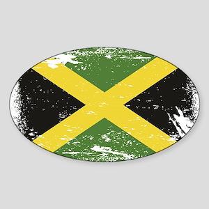 Grunge Jamaica Flag Sticker (Oval)