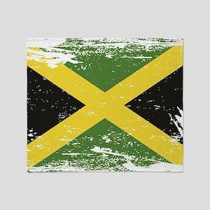 Grunge Jamaica Flag Throw Blanket