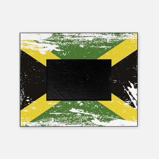 Grunge Jamaica Flag Picture Frame
