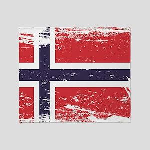 Grunge Norway Flag Throw Blanket