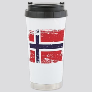 Grunge Norway Flag Stainless Steel Travel Mug