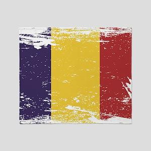 Grunge Romania Flag Throw Blanket