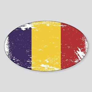 Grunge Romania Flag Sticker (Oval)