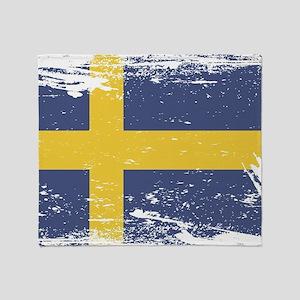 Grunge Sweden Flag Throw Blanket