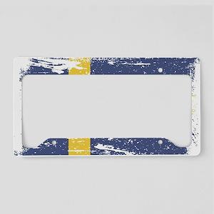Grunge Sweden Flag License Plate Holder