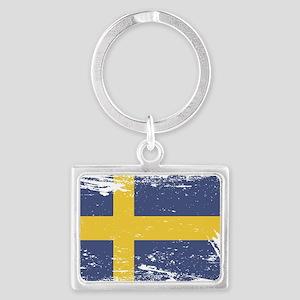 Grunge Sweden Flag Landscape Keychain