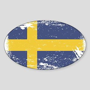 Grunge Sweden Flag Sticker (Oval)