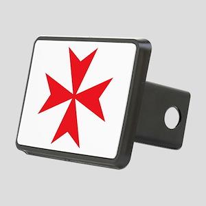 Red Maltese Cross Rectangular Hitch Cover