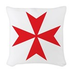 Red Maltese Cross Woven Throw Pillow
