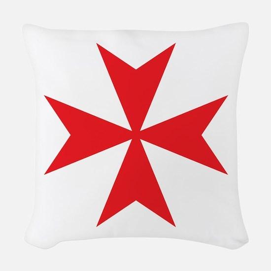 Red Maltese Cross Woven Throw Pillow