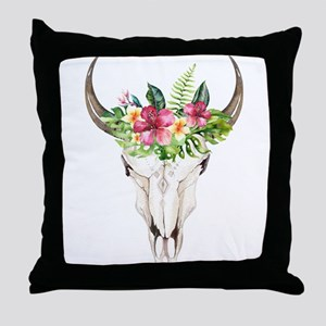 Spirit Cow Skull Throw Pillow