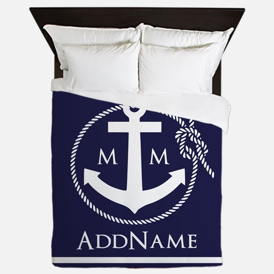 Navy Nautical Rope and Anchor Monogram Queen Duvet