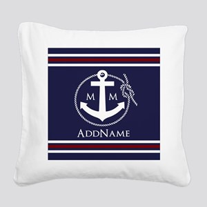 Navy Nautical Rope and Anchor Square Canvas Pillow