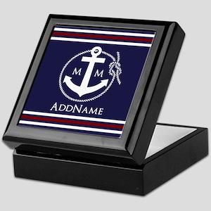 Navy Nautical Rope and Anchor Monogra Keepsake Box