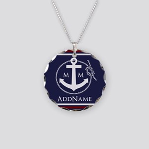 Navy Nautical Rope and Ancho Necklace Circle Charm