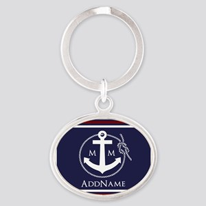 Navy Nautical Rope and Anchor Monogr Oval Keychain