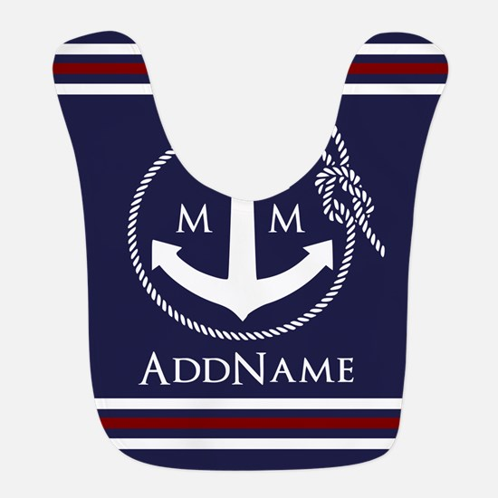 Navy Nautical Rope and Anchor Monogram Bib