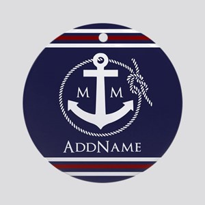 Navy Nautical Rope and Anchor Mon Ornament (Round)