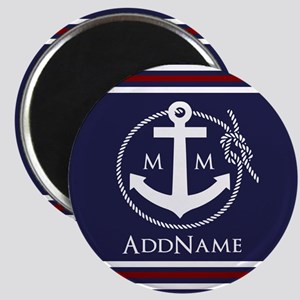Navy Nautical Rope and Anchor Monogram Magnet