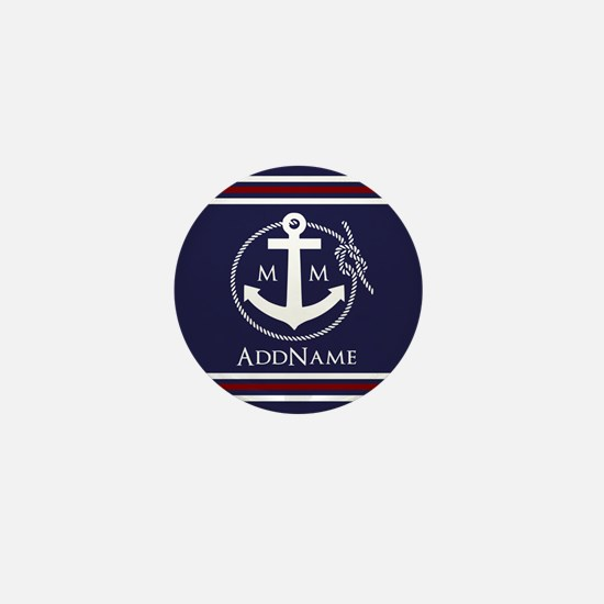Navy Nautical Rope and Anchor Monogram Mini Button