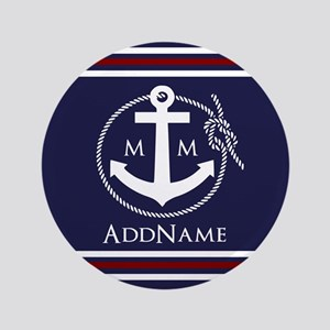 """Navy Nautical Rope and Anchor Monogram 3.5"""" Button"""