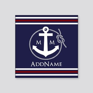 """Navy Nautical Rope and Anch Square Sticker 3"""" x 3"""""""