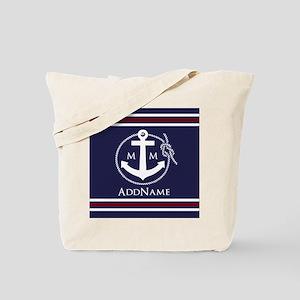 Navy Nautical Rope and Anchor Monogram Tote Bag