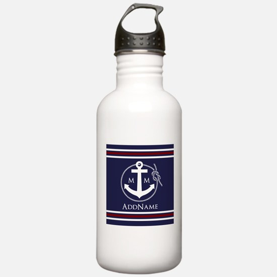 Navy Nautical Rope and Sports Water Bottle