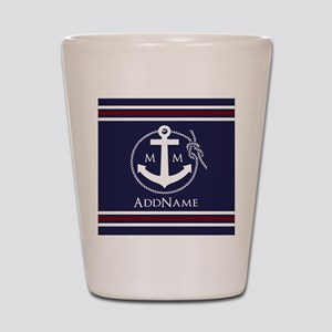 Navy Nautical Rope and Anchor Monogram Shot Glass